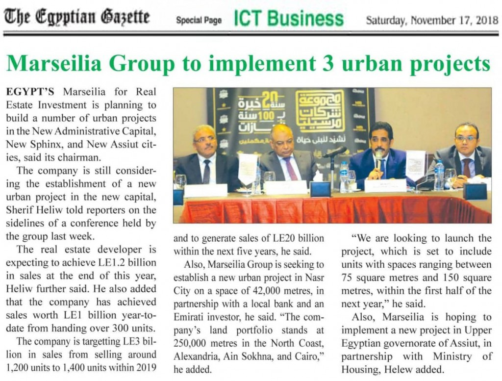 Marseilia group to implement 3 urban projects